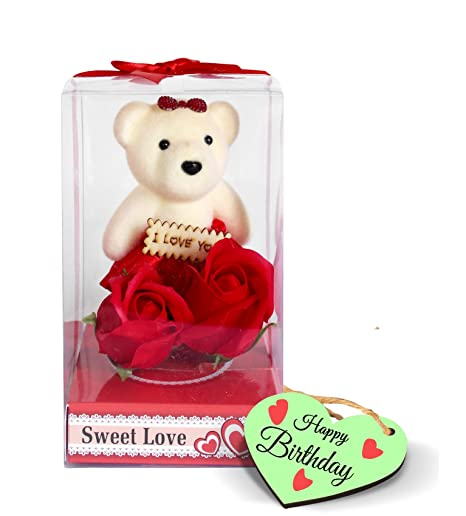 Buy Tied Ribbons Birthday Gifts Cute Teddy With Rose Best Gift For Boy Girl Friend Wife Husband Loves One And Wooden Tag Online At Low Prices In