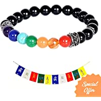 SilverTree925 Real Chakra Bracelet with Gemstones and Black Onyx with Sterling Silver Plated Elements for Men