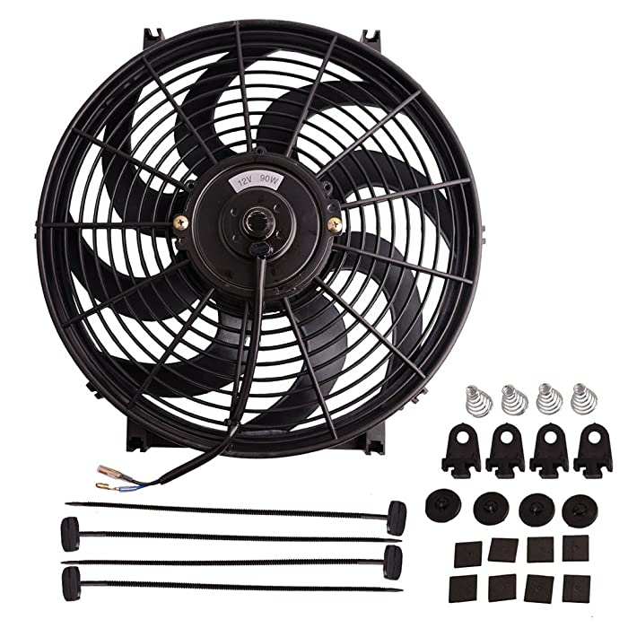 "14"" Electric Radiator Cooling Fan Assembly Kit 1750 CFM Universal Slim Engine Fan Mounting Kit Reversible 12V 90W (Diameter 13.82"" Depth 2.56"")"