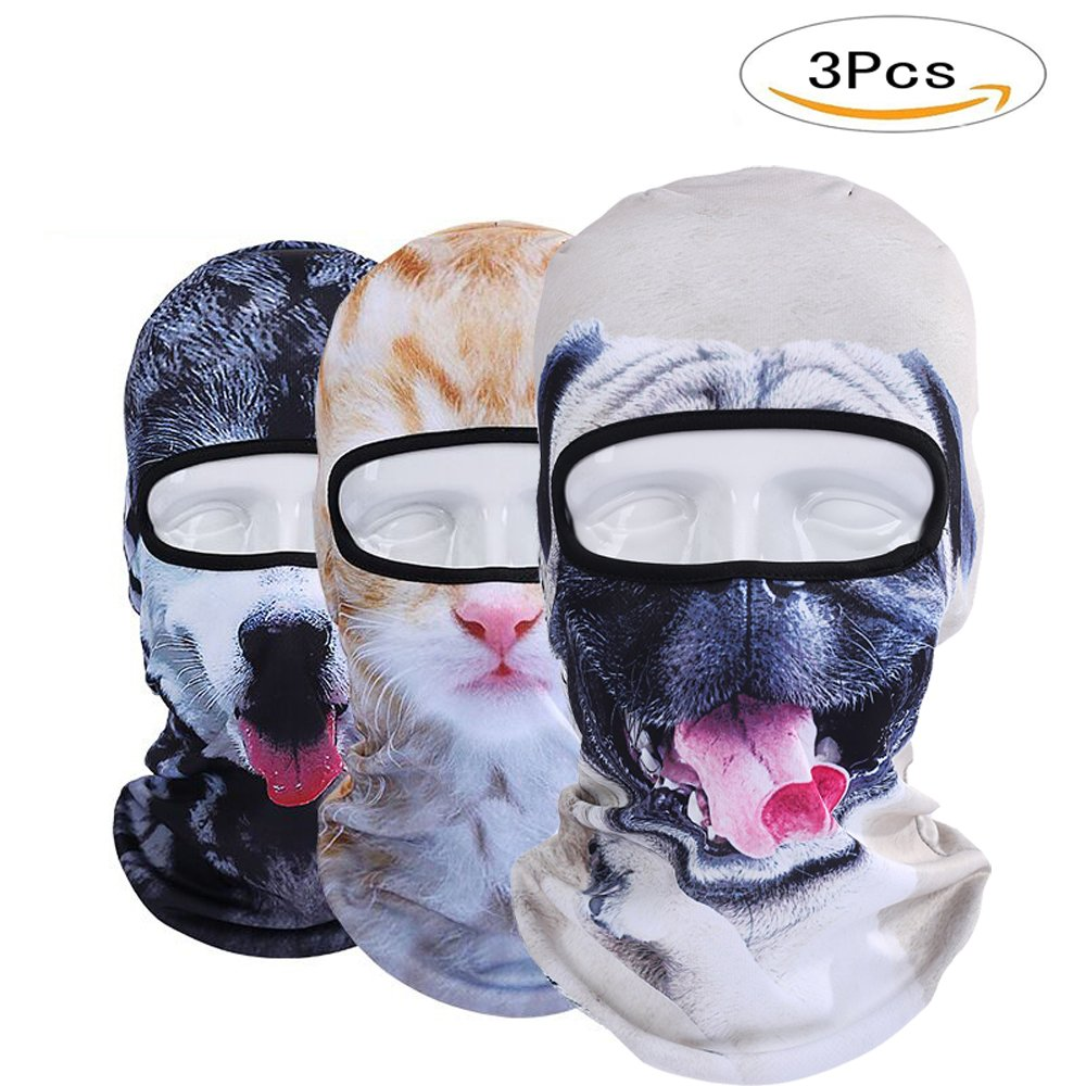 Pack of 3 Polyester Bandana Face for Out Riding Motorcycle - Animal Ski Mask Winter Motorcycle Neck Warmer Sun Balaclava Tactical Hood Helmet