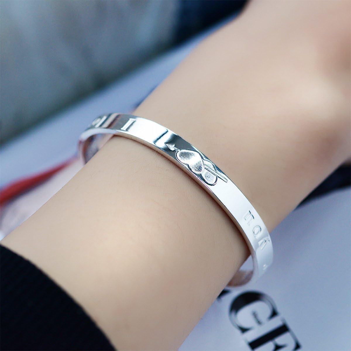 No/ël 20/% de r/éduction Mecool Femme S999 Bracelet en argent sterling BraceletI Love You Bracelet Bracelet de manchette avec design ouvert