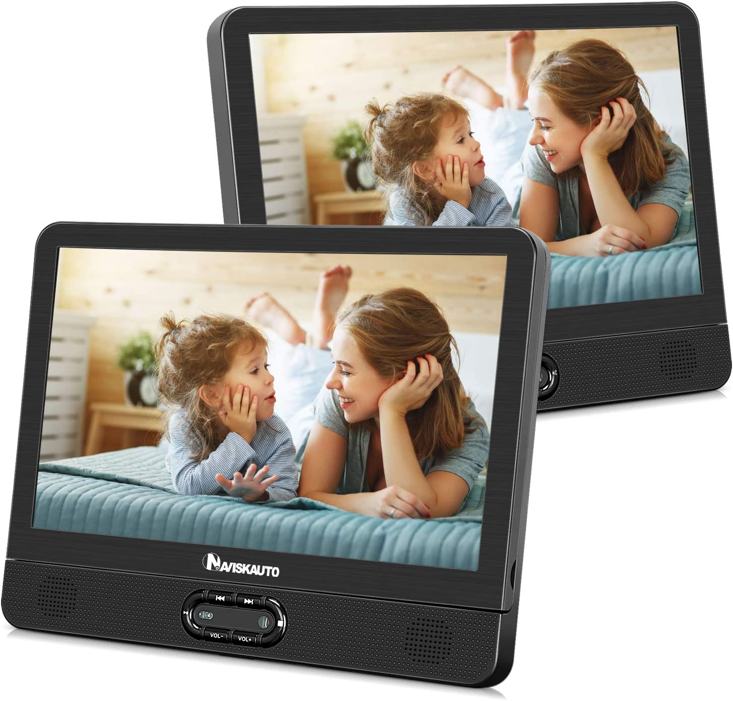 NAVISKAUTO 12 inch Portable DVD/CD Player Dual Screen, Headrest Video Player with Rechargeable Battery, Last Memory and USB/SD Card Reader