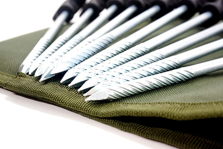 Lote de 10 Clavijas para Raqueta de Tenis DD-Tackle Deluxe Bivvy Pegs 21 cm, Incluye Bolsa