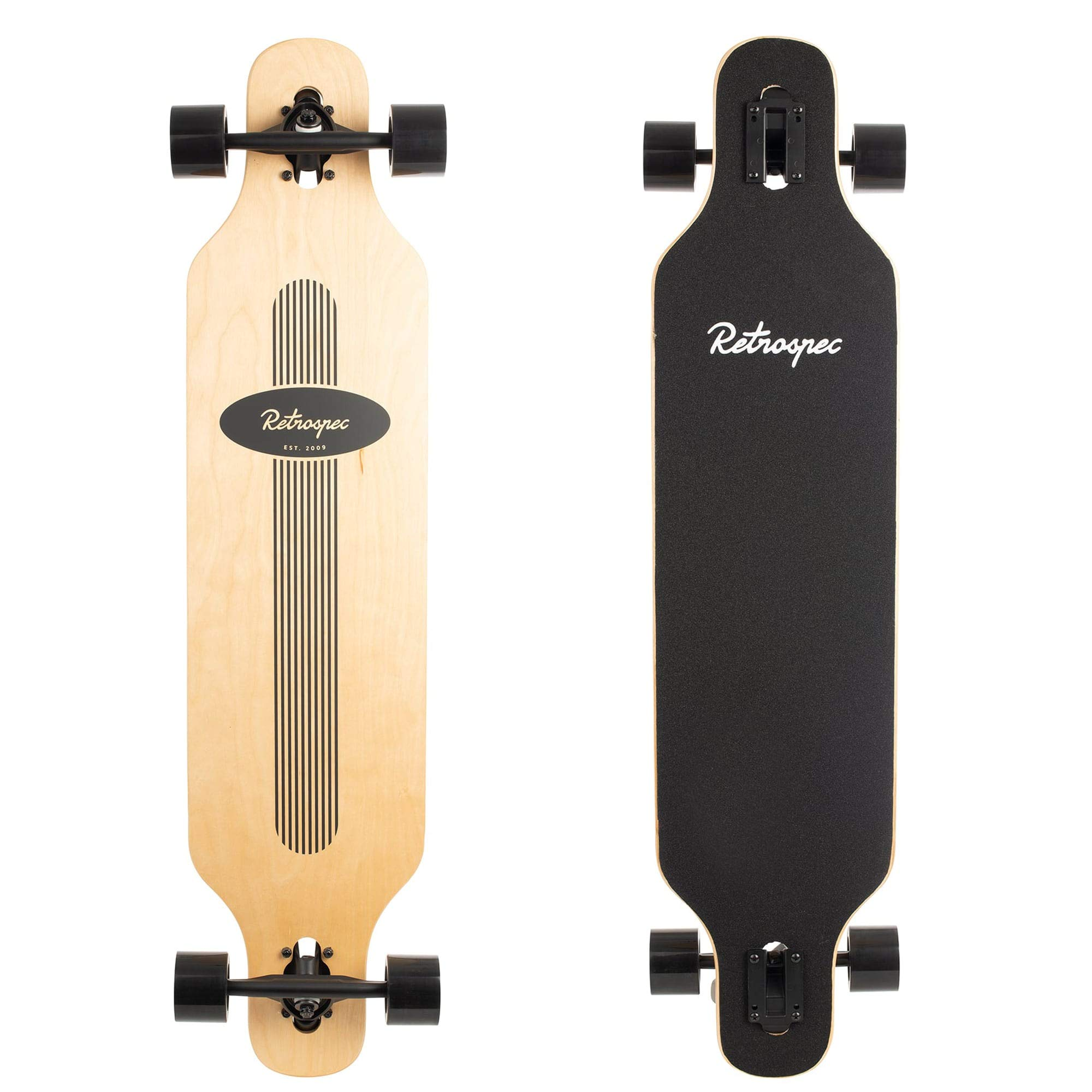 Retrospec Rift Drop-Through Longboard Skateboard Complete, Black Pinstripe, One Size by Retrospec