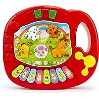 Teclado para bebe, Piano Musical con Teclado para niños, Varios Modelos - Piano Musical para bebé, Instrumentos de Juguete con Canciones, Piano con Sonido de Animal, Regalo para bebe ideal para Navidad, cumpleaños y cualquier ocasión (Rojo con Luces)