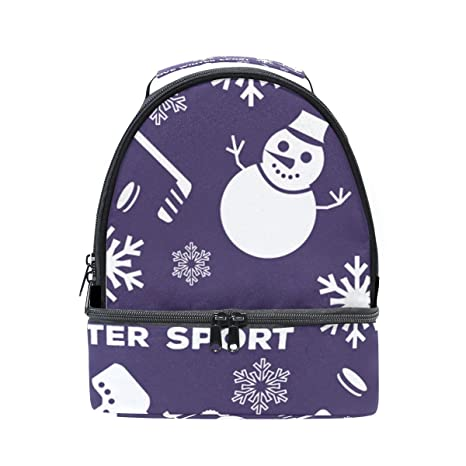 1a9d77e2cbd35 Amazon.com  GIOVANIOR Winter Sports Snowman Lunch Bag Insulated ...