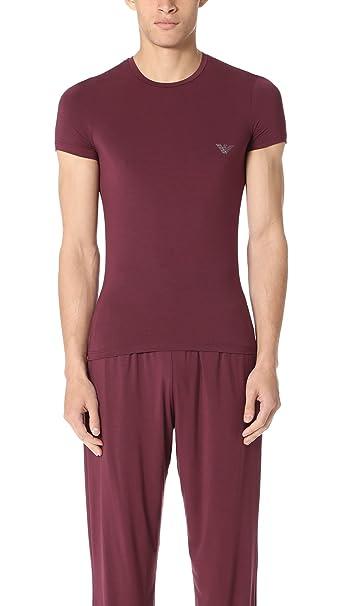 Emporio Armani Hombre Cuello de equipo de la camiseta del logotipo, Rojo, X-
