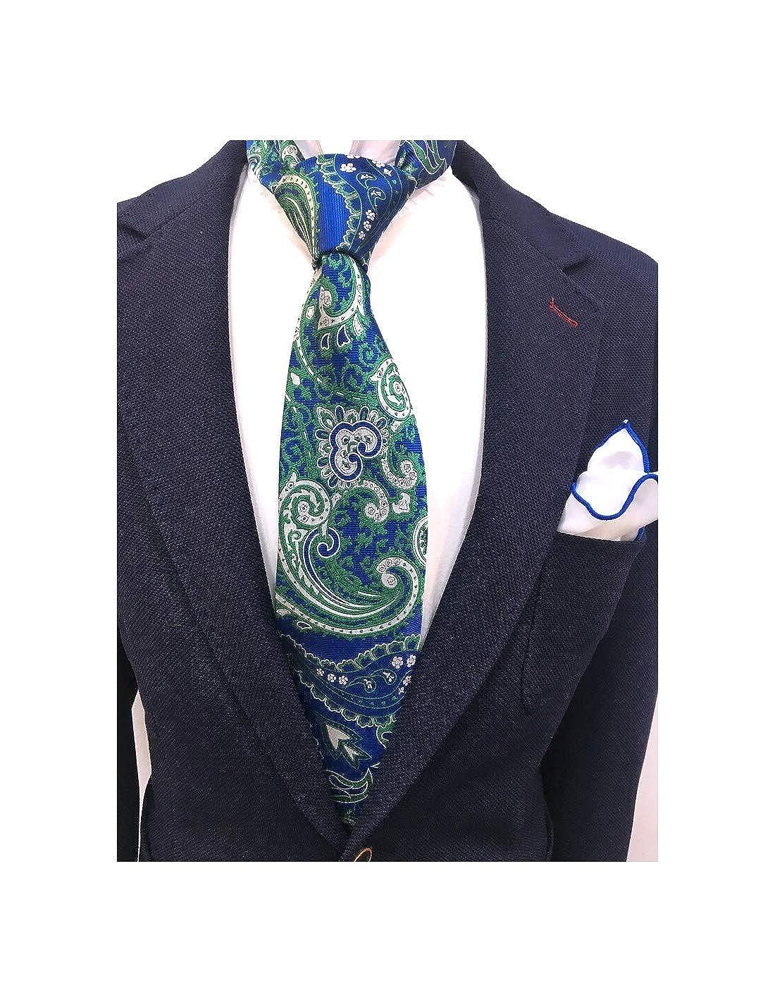Francisco Pavón Corbata de hombre fondo azulino con cachemir verde ...