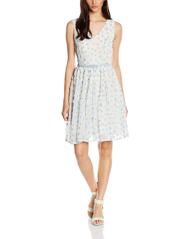 Darling Damen Skater Kleid Gr. 40, Weiß - White (Light Blue/White)