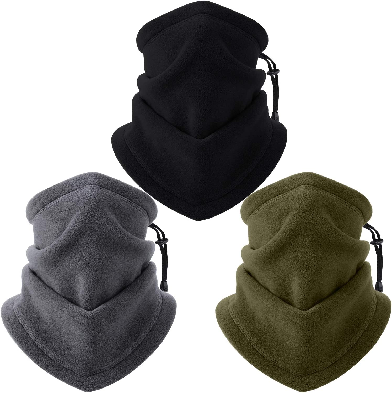 3 Piezas Calentador Braga de Cuello con Correa Ajustable Cubierta Facial Calentador de Cuello de Correr Bufanda de Cara de Esquí de Vellón Suave Grueso para Invierno Hombres Mujeres