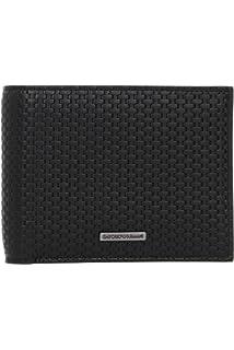 2cd70a66fcd9 Emporio Armani portefeuille homme en cuir deux plis noir  Amazon.fr ...