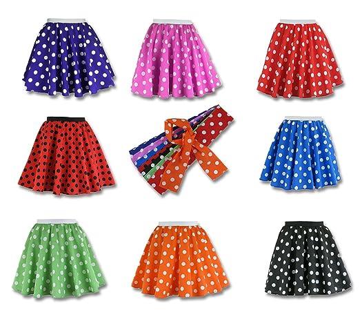 b37480df7 Girls Rock n Roll Polka Dot Skirt 50's / 60's Style Fancy Dress:  Amazon.co.uk: Clothing