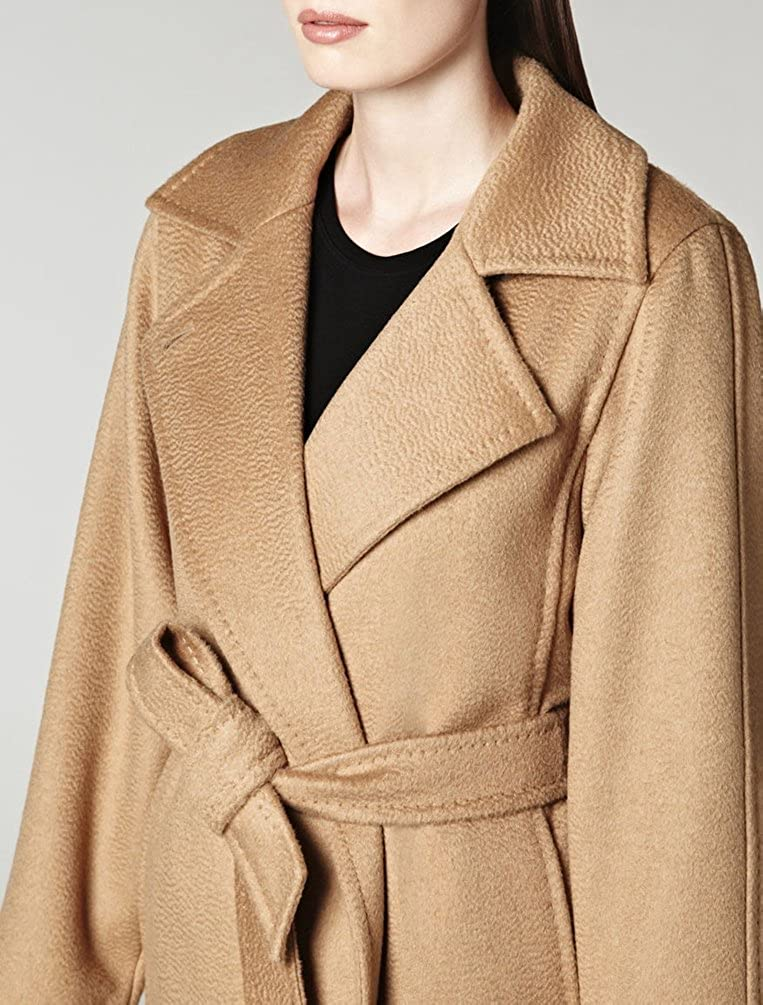 MissFox Donna Lungo Cammello Color Cappotto Invernali Slim Cappotti Invernali Trench Parka con Cintura