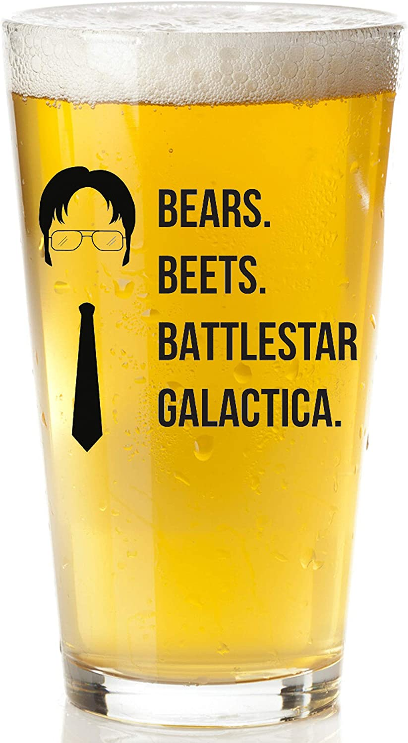 Bears Beets Battlestar Galactica Beer Glass With | The Office Merchandise Mug | Dwight Schrute Funny Quote Dunder Mifflin Craft Beer Glasses