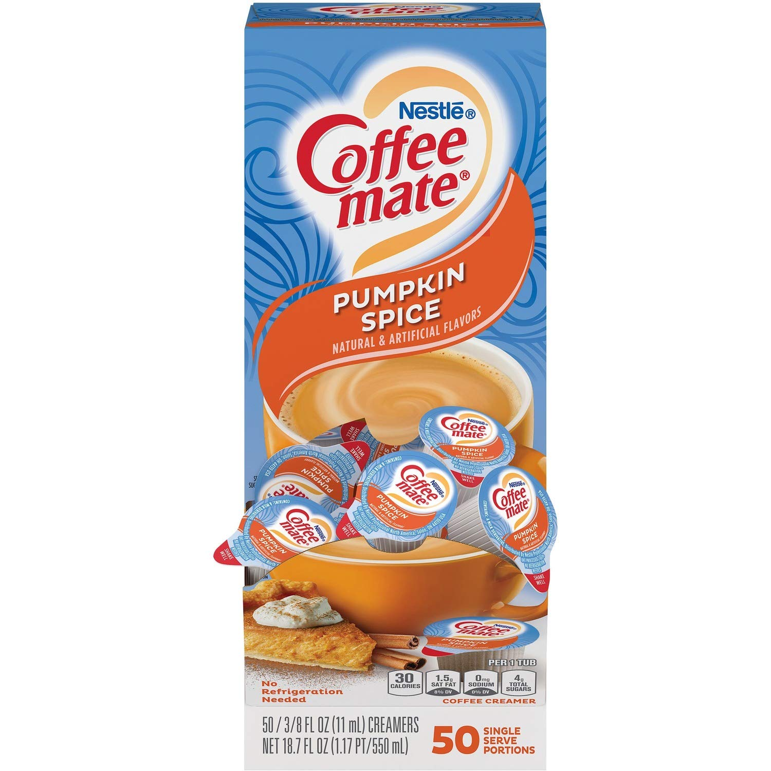 Nestle 75520 Liquid Coffee Creamer, Pumpkin Spice, 3/8 Oz (11ml)Mini Cups, 50/box
