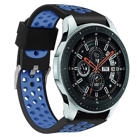 samLIKE Pulsera de Silicona para Samsung Galaxy Watch 46 mm – Transpirable Multi de Agujeros Ajustable