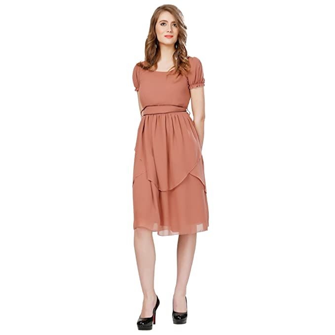 cfdfec74433 Eavan Women s Party Wear Brown Fit   Flare Dress Polyester Dress   Amazon.in  Clothing   Accessories