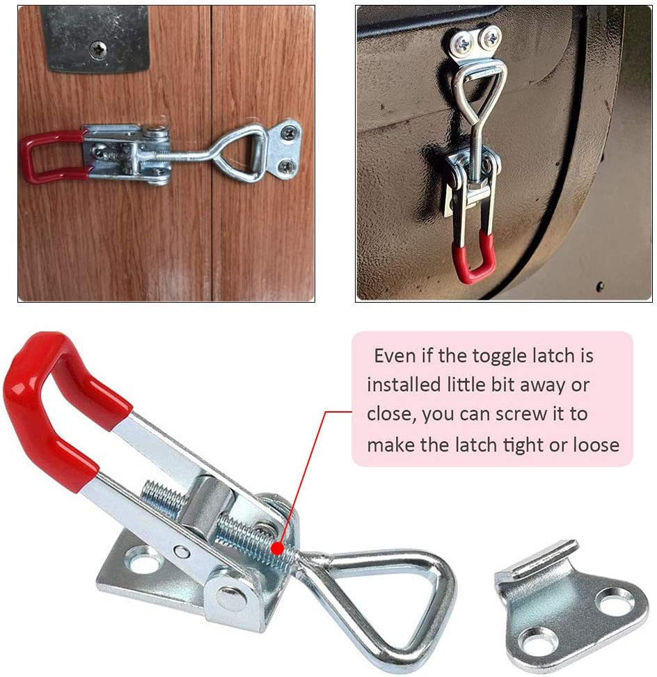 Gasea 6 Packs Adjustable Toggle Clamps 100KG// 220lbs Holding Capactity Quick Latch Catches Hasp for Case Box Trunk Cabinet Boxes