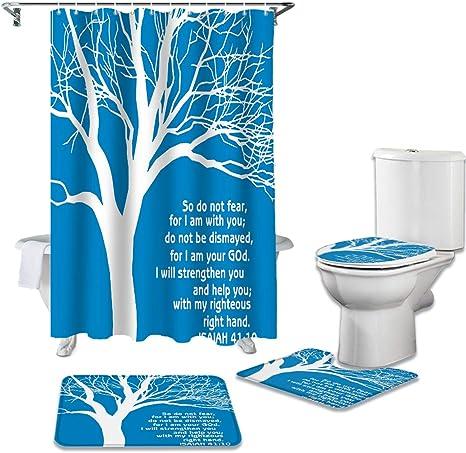Waterproof Farmhouse Bathroom Shower Curtain Toilet Cover Mat Non-Slip Rug Set