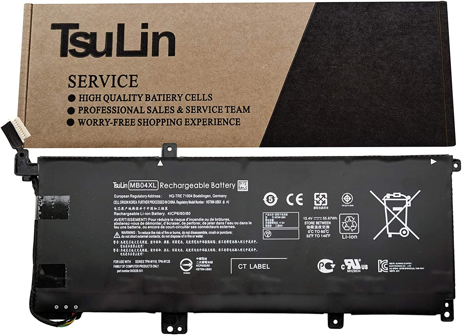 TsuLin MB04XL Laptop Battery Replacement for HP Envy X360 M6 PC 15 Convertible Series Notebook HSTNN-UB6X MBO4XL 844204-850 843538-541 15.4V 55.67Wh