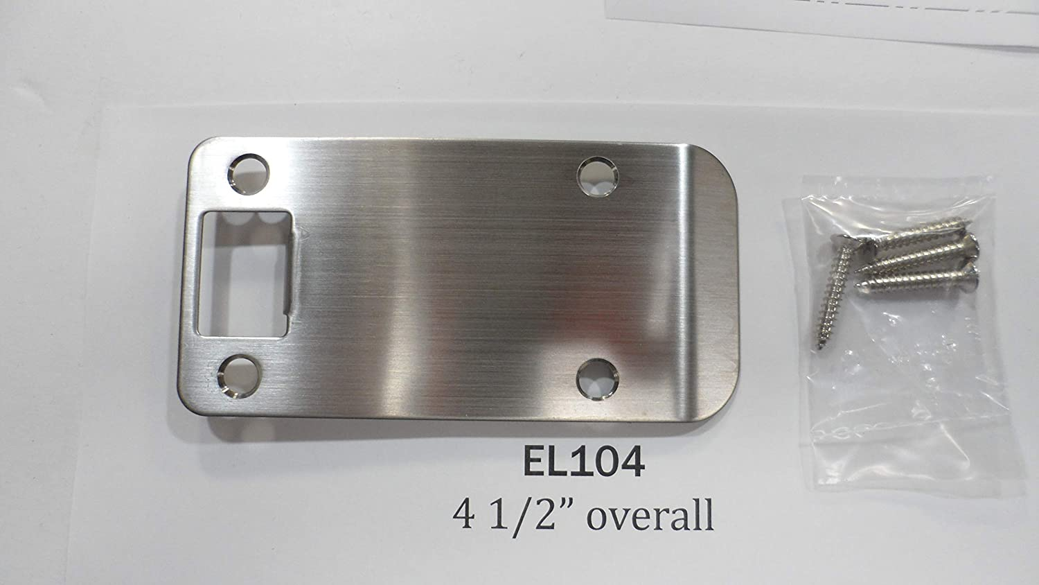 Don-Jo EL104-630 RC 4 1//2 Overall Extended Lip Strike Plate in Stainless Steel