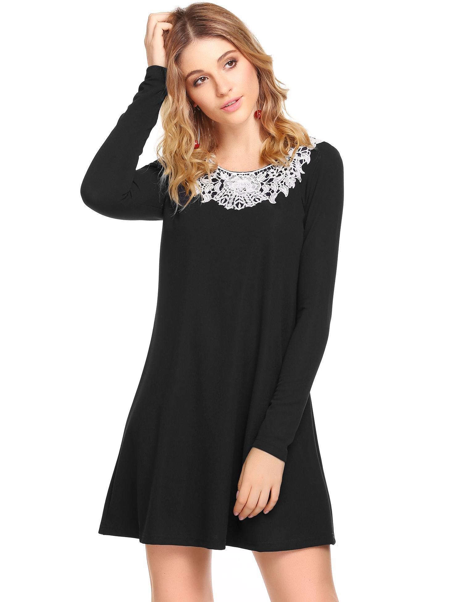 Zeagoo Women's Long Sleeve Shirt Lace Casual Loose Swing Dress Black XL