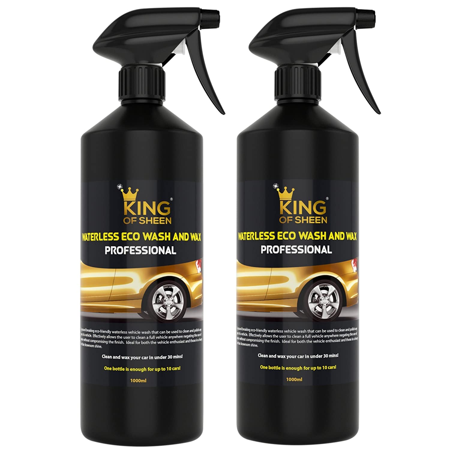 King of Sheen professionale senza acqua lavaggio e cera auto Cleaner, no acqua Just Clean and Shine like New, auto liquido detergente spray per lavaggio auto, showroom lucida a specchio. 2  x litro confezione