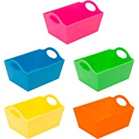 Simplify Neon, 5 Pack, Mini Storage Containers, Bins, Drawer, Office Organization. Good for Toys, Hair Accessories…