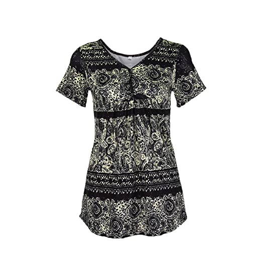7bd307b08429e3 DOINSHOP 2018 Summer Short Sleeve Tunic for Womens Floral Printed Shirts  Button Layered Notch Neck Blouse