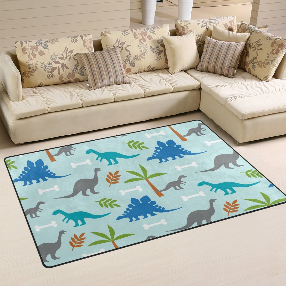 Sunlome Cute Dinosaur Dino Area Rug Rugs Non-Slip Indoor Outdoor Floor Mat Doormats for Home Decor 60 x 39 inches