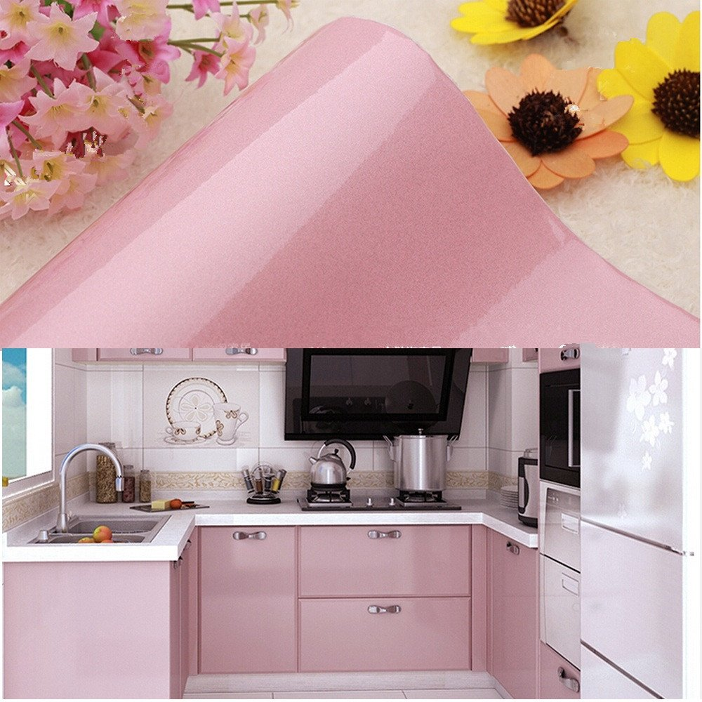 Amazon.com: Yazi Gloss Self Adhesive Vinyl Kitchen Cupboard Door Cover  Drawer Wardrobe Contact Paper,24x98 Inch,Pink: Home U0026 Kitchen