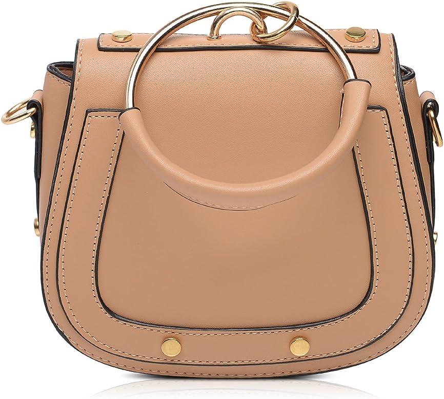 b31574766d8a Amazon.com | Vintga Women Simple PU Leather Metal Ring Fashion ...