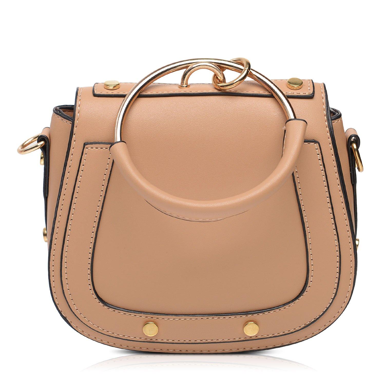 Vintga Women Simple PU Leather Metal Ring Fashion Handbag Shoulder Tote Bags (Saddle Shape Brown)