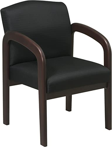 Office Star Visitors Chair with Espresso Finish Base and Arms, Black