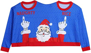 New Christmas Pullover,Unisex Couples Ugly Xmas Sweater Two Person Blouse Tops