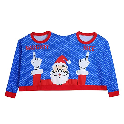 Amazoncom Two Person Ugly Sweater Unisex Couples Pullover Novelty