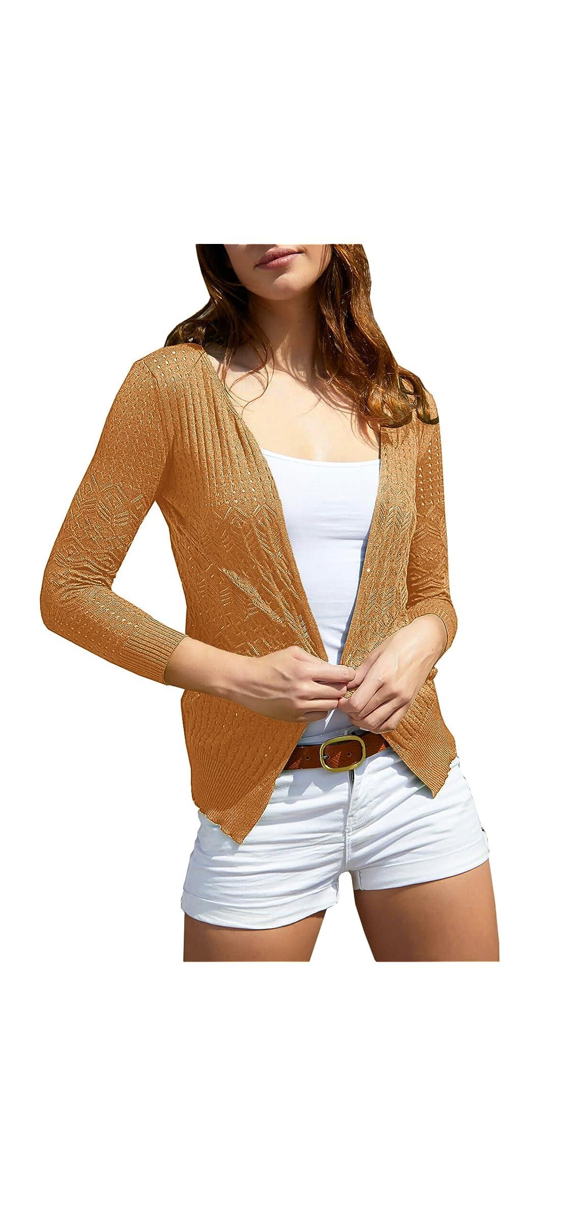 Womens Stitch Crochet Cardigan Boho Open Front Knit Long