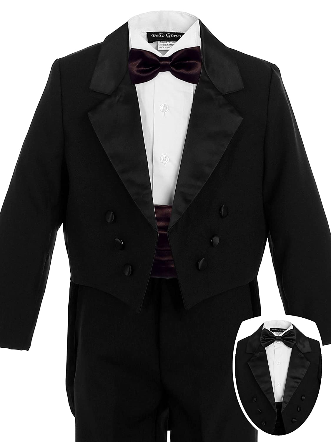 Bello Giovane Boys Black Penguin Tuxedo with Colored Cummerbund 7 Piece Set