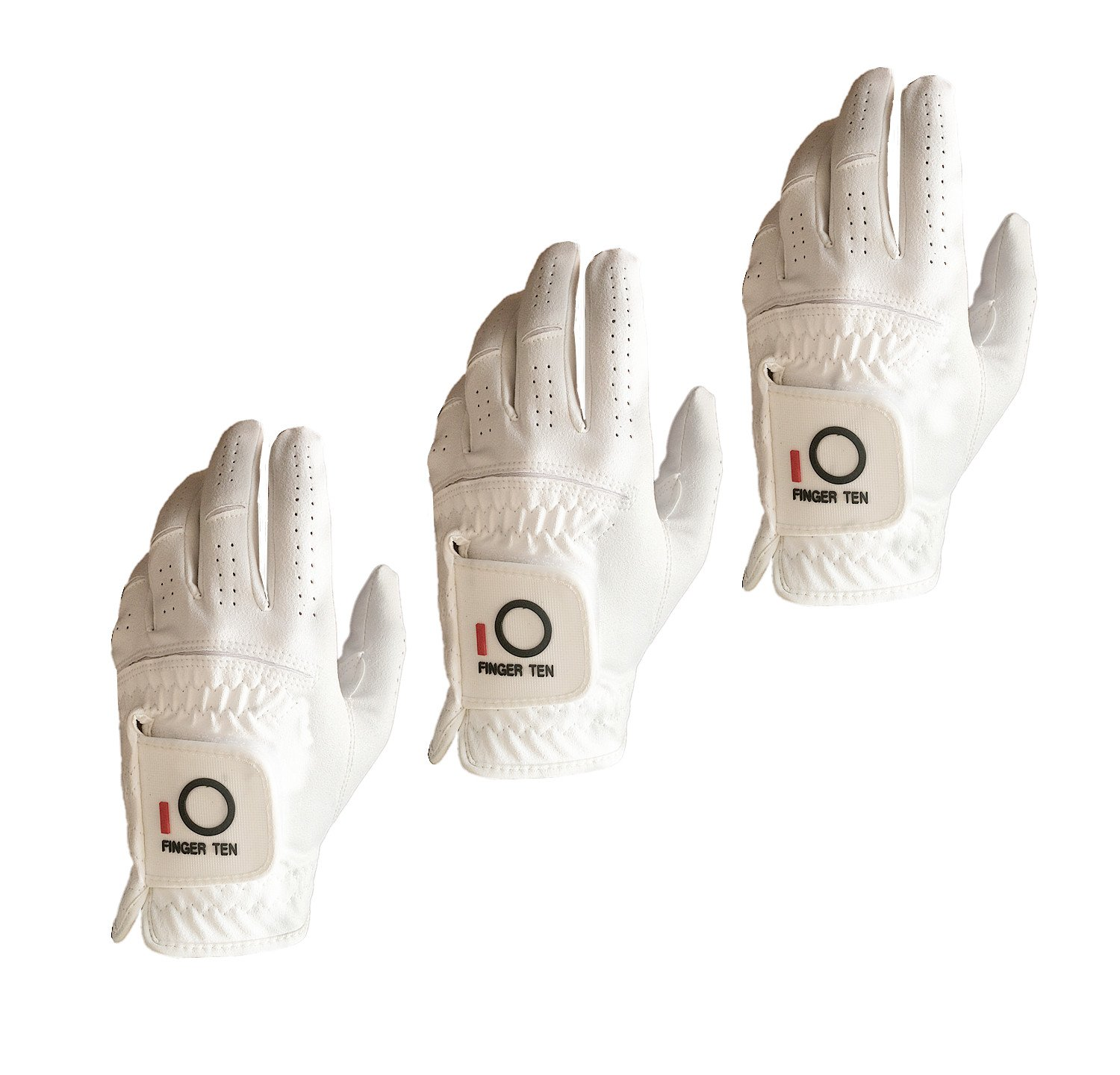 FINGER TEN Mens Golf Glove Rain Grip Value 3 Pack, Black White Left Hand Fit Right Handed Golfer, All Weather Durable Grip Size Small Medium Large XL (White, Small)
