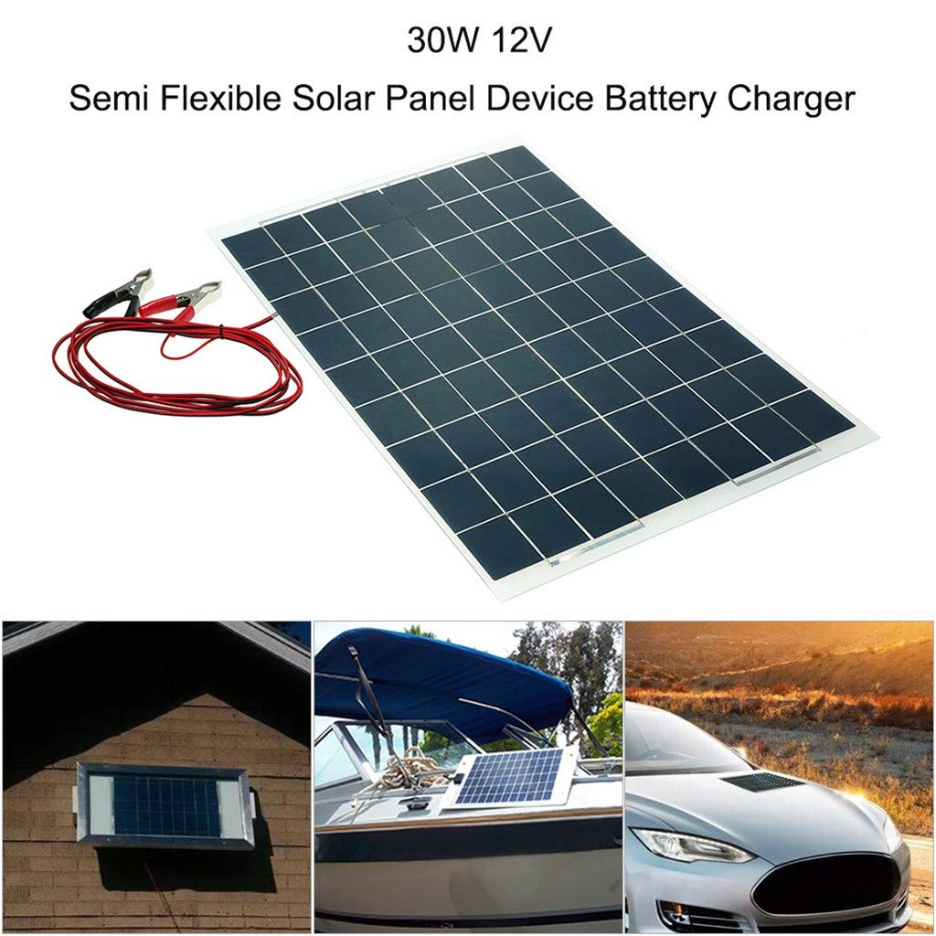 Sonmer Semi Flexible Solar Panel Battery Charger,12V,30W by Sonmer (Image #2)