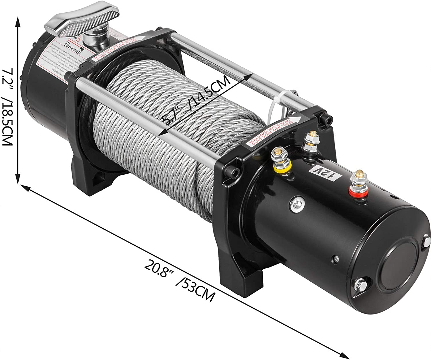 VEVOR Truck Winch 8000Ibs Electric Winch 94ft//28.6m Cable Steel 12V Power Winch Jeep Winch with Wireless Remote Control and Powerful Motor for UTV ATV /& Jeep Truck and Wrangler in Car Lift