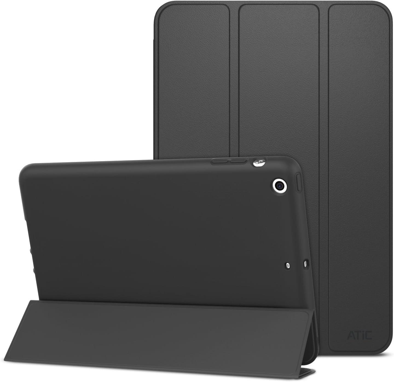 ATiC Case for iPad Mini 3 / 2 / 1, Slim Stand Case with Soft TPU Back Cover for Apple iPad Mini 1 (2012) / iPad Mini 2 (2013) / iPad Mini 3 (2014), BLACK (Will not fit iPad Mini 4)