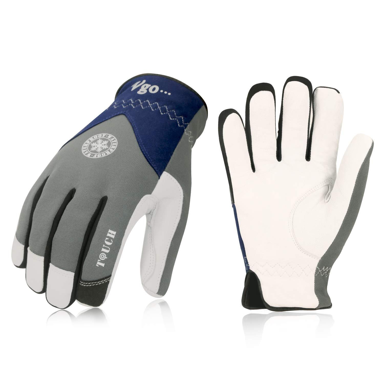 Vgo 0℃/ 32℉以上または3M以上Thinsulate C40冬の暖かいワーキング手袋ゴーテックレザー防水作業手袋とドライバー手袋(1組、サイズL、グレー、GA8977FW)  B07216T7TY
