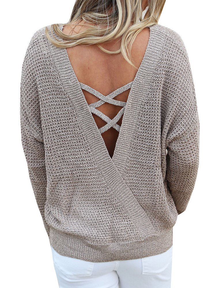 Chuanqi Womens Sweater Chunky Loose Pullover Sweaters Backless Long Sleeve Cross Cross Knit Tops