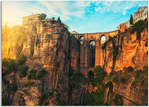 deinebilder24 Mural XXL Puente Puente, Ronda, Andalucía, España Sobre Lienzo y Bastidor, Hecho a Mano en Alemania, Lona, 70 x 110 cm: Amazon.es: Juguetes y juegos
