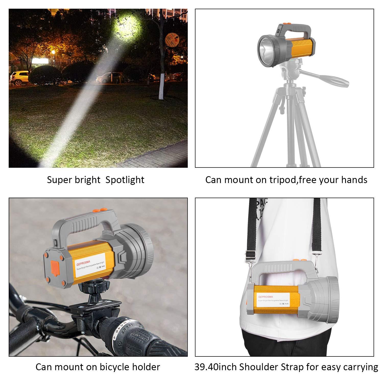Super Bright Rechargeable LED Spotlight Flashlight High Powered 6000 Lumens CREE Handheld Searchlight Large 18650 Battery 10000mah Long Lasting Waterproof, Side Flood Light Camping Lantern Work Light by GEPROSMA (Image #2)
