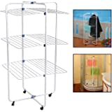 Top Home Solutions 30m Indoor Tower Laundry Clothes Airer Dryer Washing Line Horse Rack