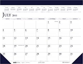 """product image for House of Doolittle Academic Desk Pad Calendar, Non-Refillable, 14-Month, July-August, 2012-2013, 22"""" x 17"""", Simulated Blue Leather"""