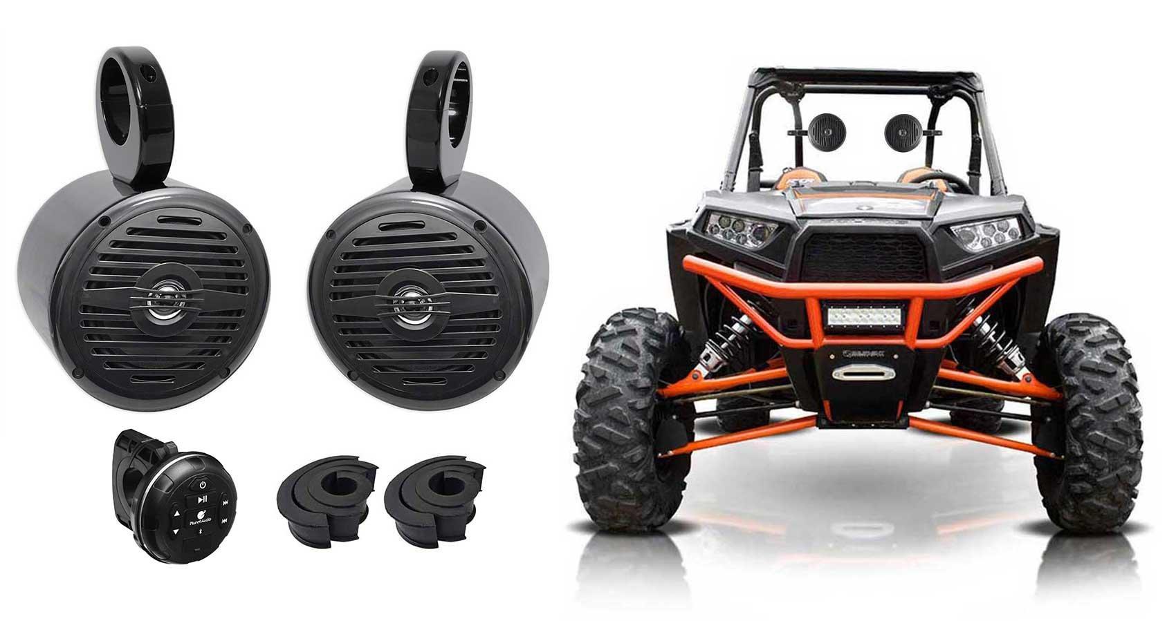 Pair Rockville MS525B 5.25'' 400w Tower Speakers+Controller 4 Polaris RZR/ATV/UTV
