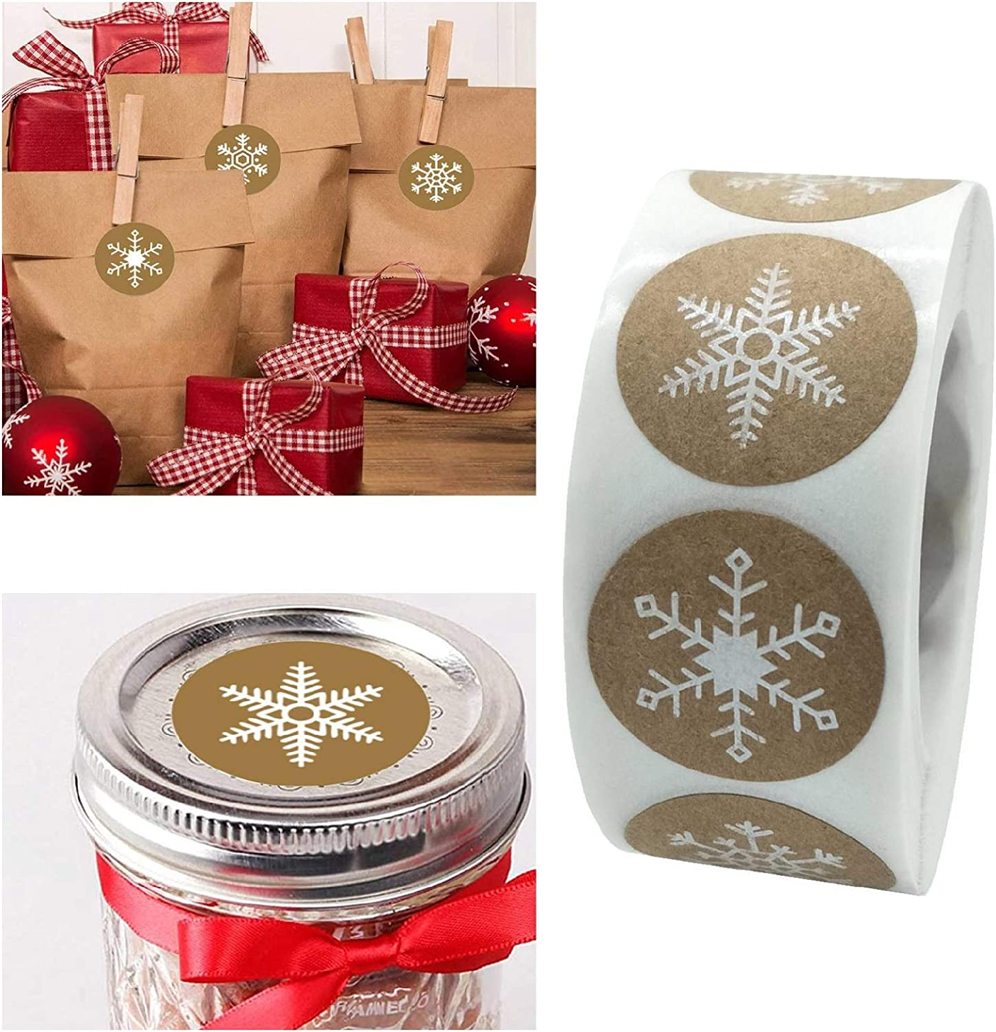 Christmas Stickers,Christmas Roll Pack Sticker, 500 Pieces Round Adhesive Labels for Cards Envelope Gift Boxes Decorative Sealing Stickers,Holiday Wedding Party Favors Supplies (F)